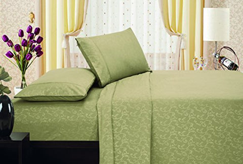 Ben&Jonah Designer Plush King Flower Embossed Sheet Set -Khaki