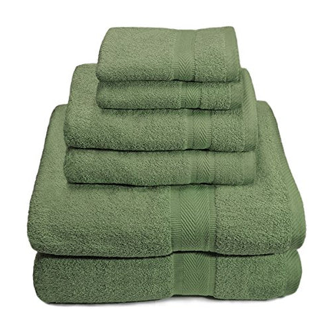 Ben&Jonah Designer Plush 6 Piece 100% Cotton Towel Set -Army Green