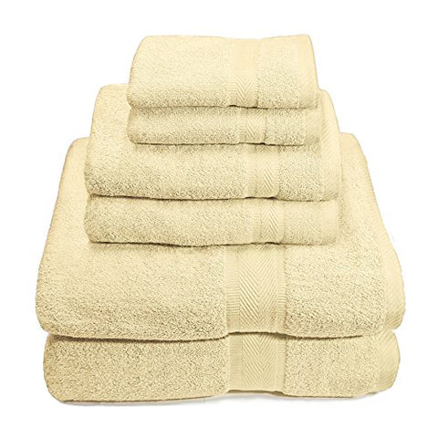 Ben&Jonah Designer Plush 6 Piece 100% Cotton Towel Set -Ivory