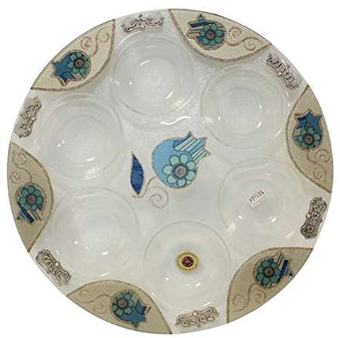 Seder Plate Round - Floral Blue Pomegranate - 14 inch  D