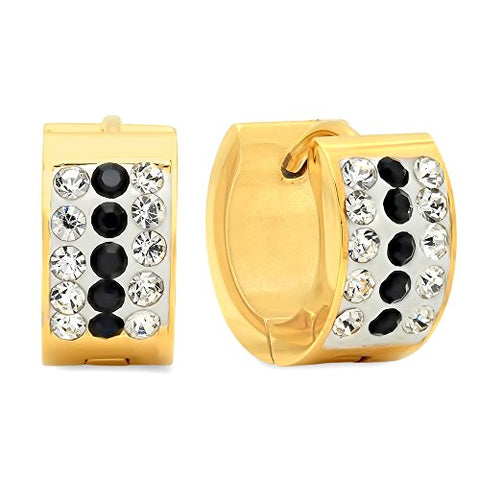 Ben and Jonah Ladies 18k Gold Plated Stainless Steel White and Black simulate Diamond Huggie Earrings