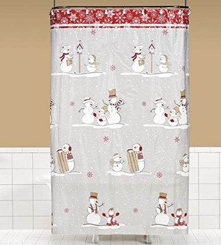 Snow Flurry PEVA Non-Toxic Shower Curtain (70 inch  x 72 inch )