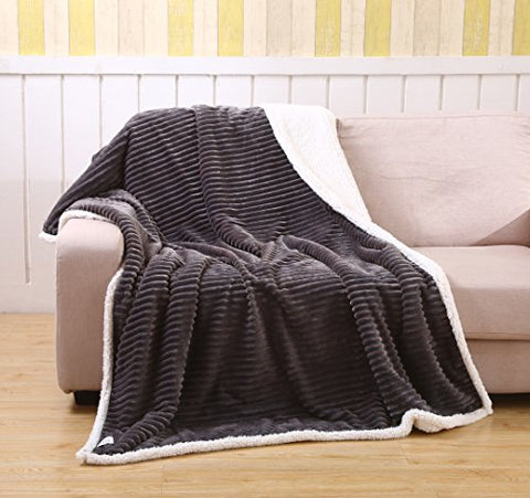 Ultra Soft Textured Sherpa Plush Throw Blanket (50 inch  x 70 inch ) - Grey