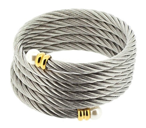 Ben and Jonah Stainless Steel Ladies Fancy Multi-wrap Cable Bracelet with Simulated Pearls At Ends