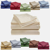 Cozy Home 1800 Series Embossed Striped 4-Piece Sheet Set Queen - Beige