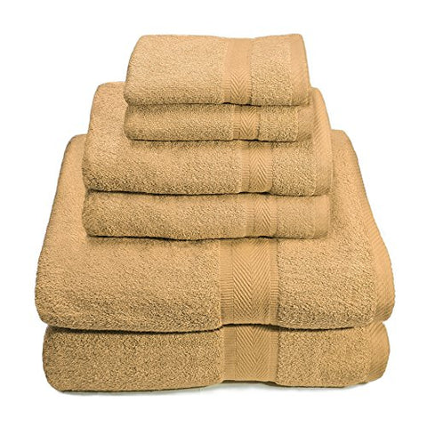Ben&Jonah Designer Plush 6 Piece 100% Cotton Towel Set -Khaki