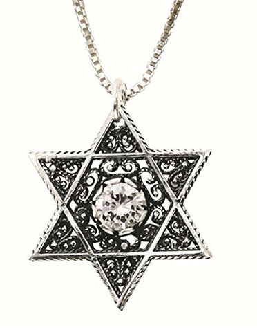 Silver Star Of David Necklace With Zircon - Chain 16 inch  Pendant 7/8 inch  W X 1 inch  H