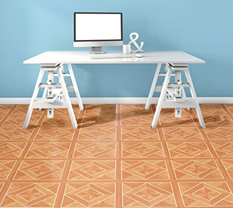 Ben&Jonah Collection Tivoli White Border Classic Inlaid Parquet 12x12 Self Adhesive Vinyl Floor Tile - 45 Tiles/45 sq Ft.