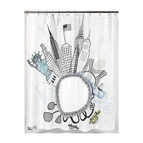 Park Avenue Deluxe Collection Park Avenue Deluxe Collection  inch Funky City inch  Fabric Shower Curtain