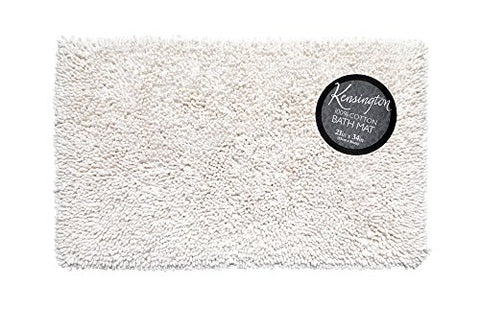 Park Avenue Deluxe Collection Shaggy Cotton Chenille Bath Room Rug Size 21 inch x34 inch  in White