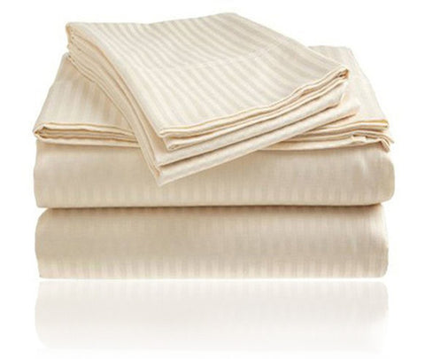 Cozy Home 1800 Series Embossed Striped 4-Piece Sheet Set Full - Ivory