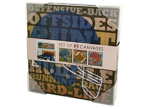 Regalo Perfecto Collection Football Canvas Wrapped Wall Art Set