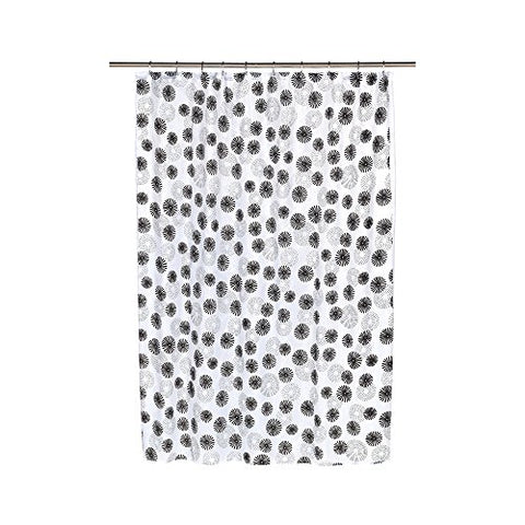 Park Avenue Deluxe Collection Park Avenue Deluxe Collection  inch Vienna inch  Fabric Shower Curtain with Poly Taffeta Flocking in Black/White