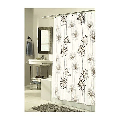 Park Avenue Deluxe Collection Park Avenue Deluxe Collection  inch Cologne inch  Fabric Shower Curtain with Poly Taffeta Flocking in Brown/Ivory