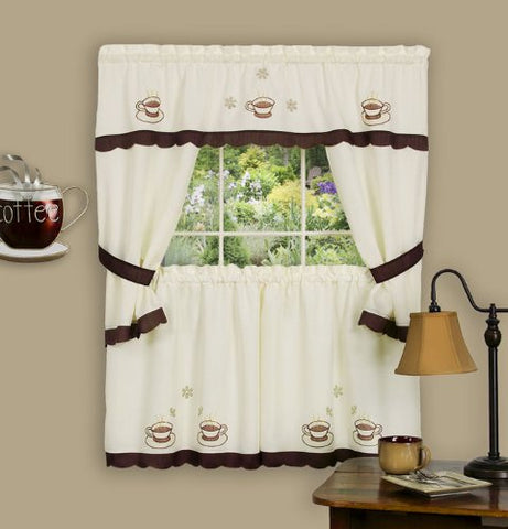 Park Avenue Collection Cuppa Joe Embellished Cottage Set - 58x36 Tailored Tier Pair/58x36 Tailored Topper with attached swaggers and tiebacks. - Brown