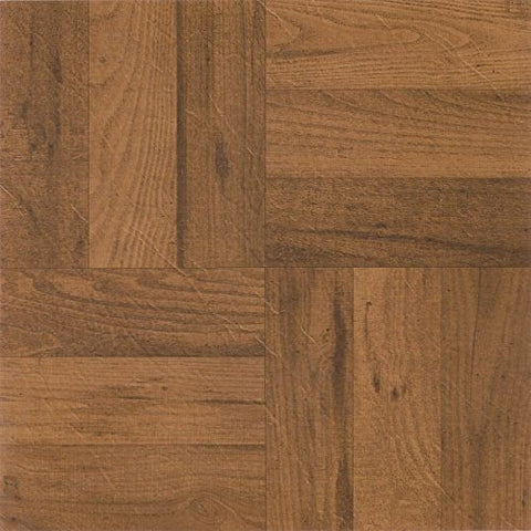 Park Avenue Collection NEXUS 3 Finger Med. Oak Parquet 12 Inch x 12 Inch Self Adhesive Vinyl Floor Tile #225 - 20 Tiles