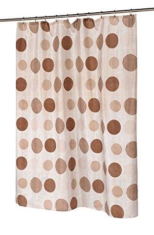 BenandJonah Collection Fabric Shower Curtain 70 x 72 inch  Brown Circles
