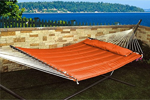 Patio Bliss Hammock Quilted with Pillow with  inch S inch  Stitch - Terra Cotta