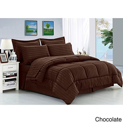 Ben&Jonah Designer Plush Queen 8 Piece Set: Embossed Dobby Stripe Microfiber Bed In A Bag -Chocolate
