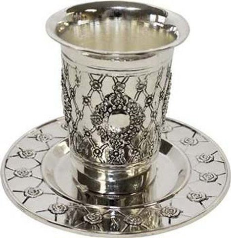 Silver Plated Kiddush Cup With Plate 3 1/2 inch  H