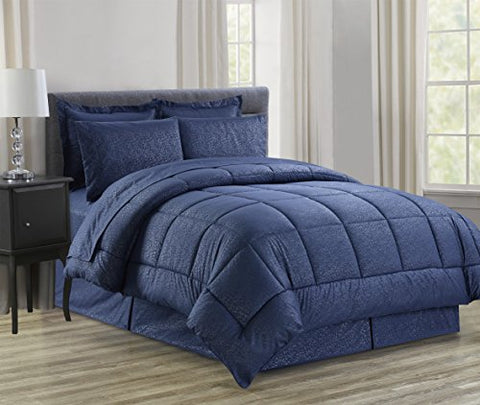 Ben&Jonah Queen Size 8 Piece Vine Down Alternative Bed N Bag  (86 inch  x 86 inch ) - Navy