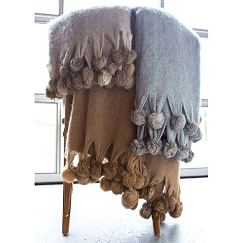 Ben and Jonah Wool Blend Mohair Trim Throw Blanket with Rabbit fur pompoms (Beige)