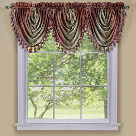 Park Avenue Collection Ombre Waterfall Valance - Burgundy