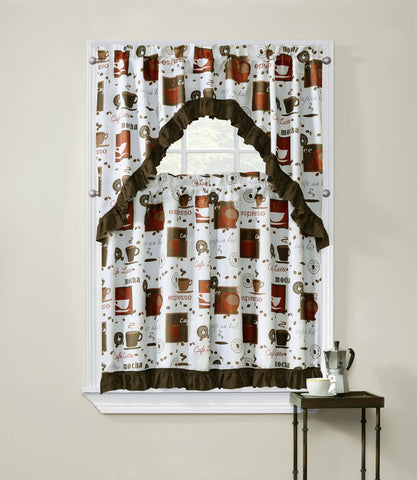 Cappuccino 3 Piece Kitchen Curtain Window Set