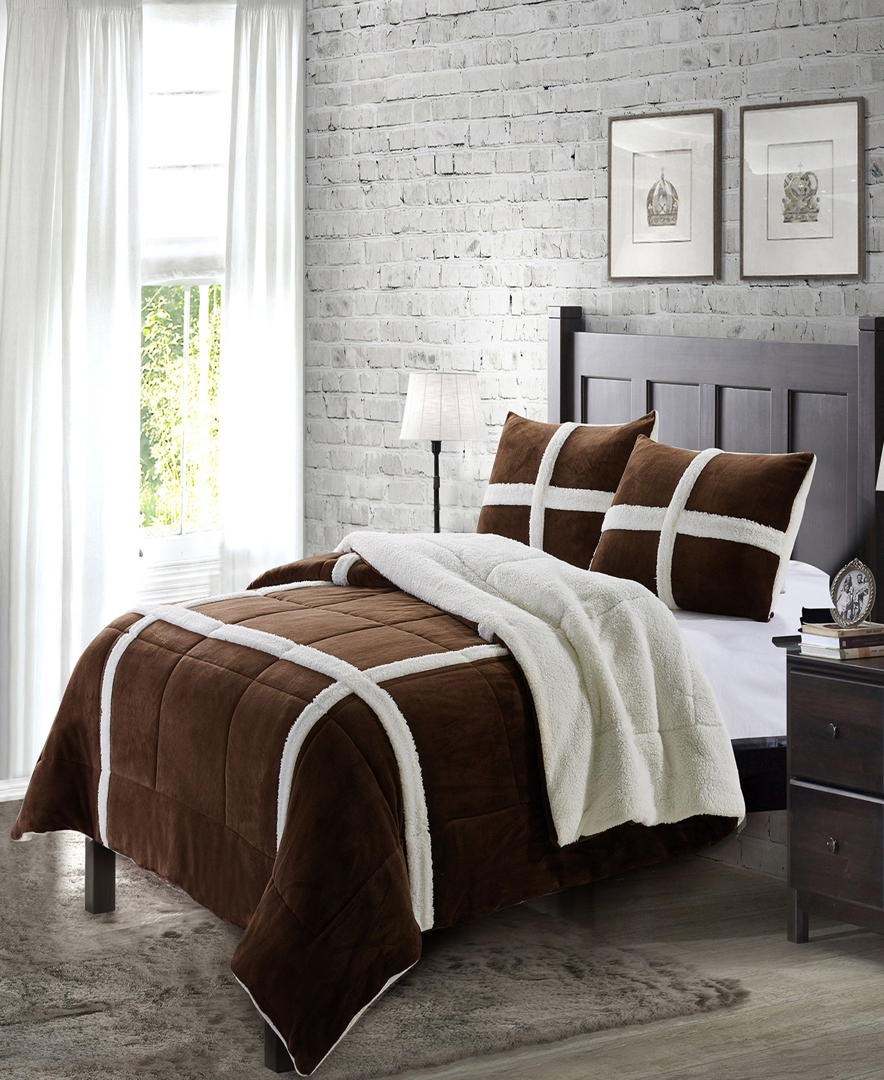"""Simple Elegance by Ben&Jonah 3 Piece Queen Size Flannel Blanket Set with Sherpa Backing (90"""" x 90"""") - Chocolate"""