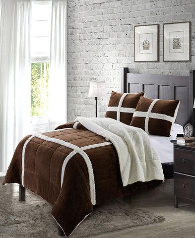 "Simple Elegance by Ben&Jonah 3 Piece King Size Flannel Blanket Set with Sherpa Backing (102"" x 90"") - Chocolate"