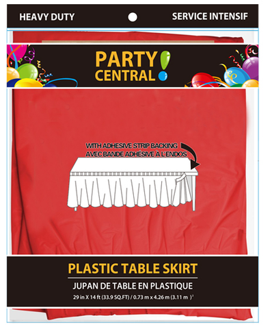"Party Central Heavy Duty Plastic Table Skirt with Adhesive Backing (14'L x 29"" Drop) - Red"