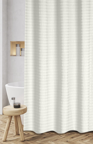 "Royal Bath 100% Cotton Textured Stipes Shower Curtain (72"" x 72"") - Ivory"