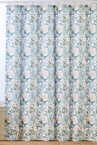 Floral Bliss Waffle Fabric Shower Curtain with Matching Roller Hooks