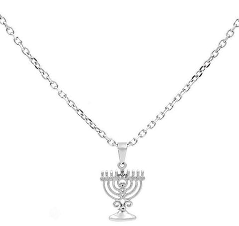 "BenandJonah Stainless Steel Menorah Pendant with 18"" Chain…"
