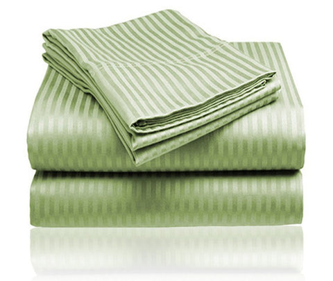 Cozy Home 1800 Series Embossed Striped 4-Piece Sheet Set Queen - Sage