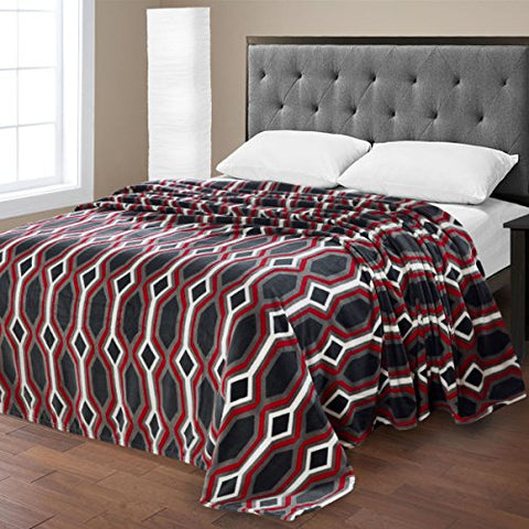 Ben&Jonah Designer Plush King Lauren Micro Fleece Jacquard Blanket -Black Geometric
