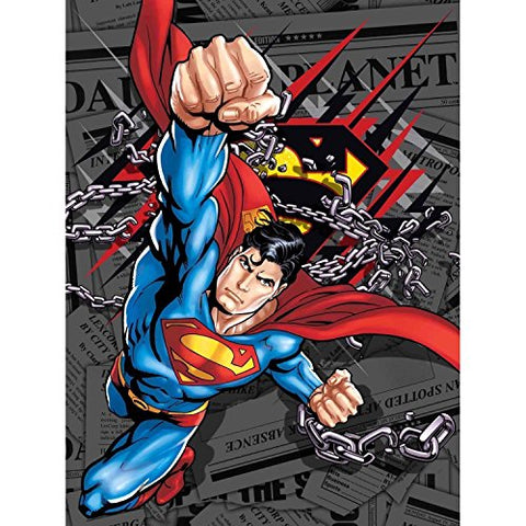 Superman Daily News Twin Size Plush Blanket 60 inch  x 80 inch