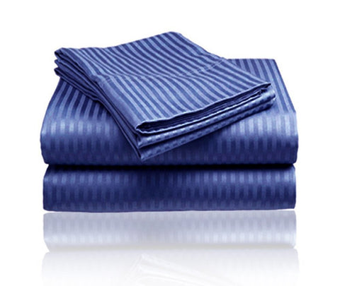 Cozy Home 1800 Series Embossed Striped 3-Piece Sheet Set Twin - Navy