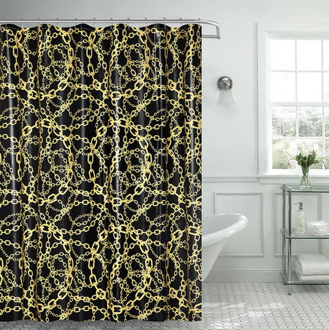 "Royal Bath Cadena Amarilla Chain PEVA Non-Toxic Shower Curtain (70"" x 72"") with Matching Roller Hooks"