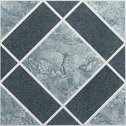 Park Avenue Collection NEXUS Light & Dark Blue Diamond Pattern 12 Inch x 12 Inch Self Adhesive Vinyl Floor Tile #303 - 20 Tiles