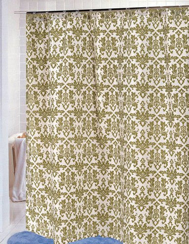 BenandJonah Collection Fabric Shower Curtain 70 x 72 inch  Damask Sage/Ivory