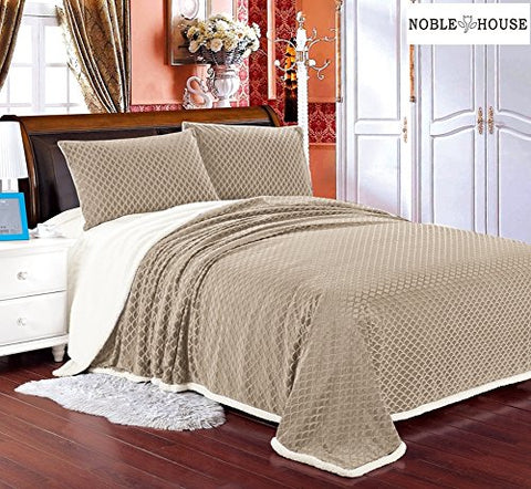 Luxurious Home Ultra Soft Reversible Queen Blanket with Sherpa Lining - Beige