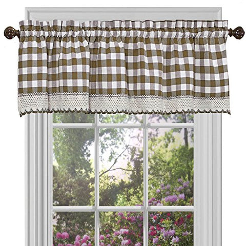 Park Avenue Collection Buffalo Check Valance - 58x14 - Taupe