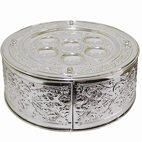 Silver Plated 3 Tier Matzah/Seder Plate - 14 inch D x 7 inch H