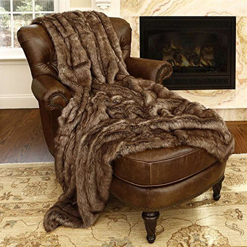 Ben and Jonah Coyote Faux Fur Throw Blanket (60 inch  x 58 inch )