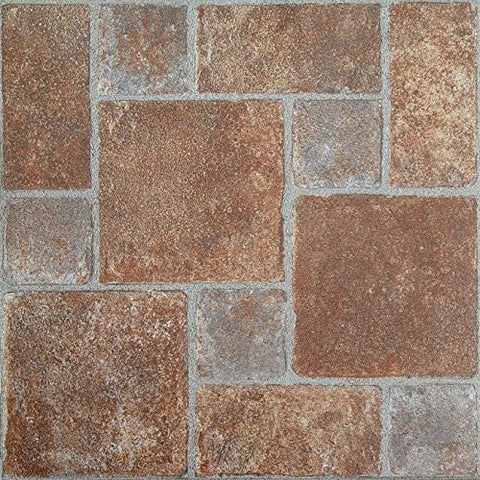 Park Avenue Collection NEXUS Brick Pavers 12 Inch x 12 Inch Self Adhesive Vinyl Floor Tile #332 - 20 Tiles