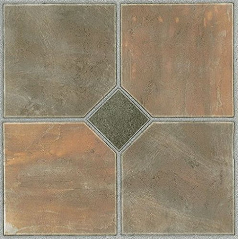 Park Avenue Collection Tivoli Rustic Slate 12 Inch x 12 Inch Self Adhesive Vinyl Floor Tile #326 - 45 Tiles
