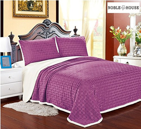 Luxurious Home Ultra Soft Reversible Queen Blanket with Sherpa Lining - Mauve