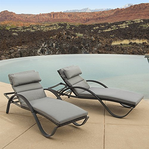 Eclipse Collection Charcoal Grey Outdoor Chaise Lounge 6'8 inch L x 28.5 inch W x 19 inch H (Set of 2)