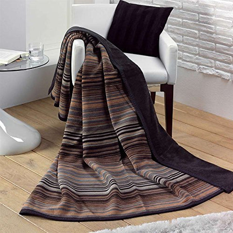 Ben and Jonah Chocolate Stria Stripe Throw Blanket